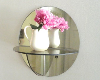 Vintage Glass Mirror Shelf Hanging