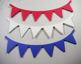 18 Banner die cut, Scrapbook Embellishments, Patriotic Scrapbook Embellishments, Military Embellishment,  Verterans Day, Red White & Blue