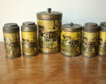 Vintage 1920 Lithographed Canister Set, Coffee, Tea, Ginger, Nutmeg, Cloves, Boone, Campbell Smith Ritchie Co.