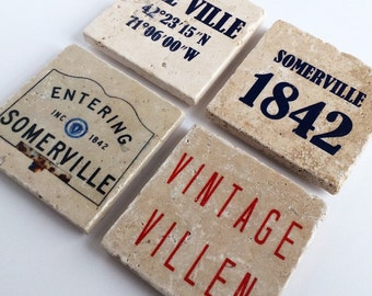 The Somerville Collection, Handmade Tumbled Tile Coasters