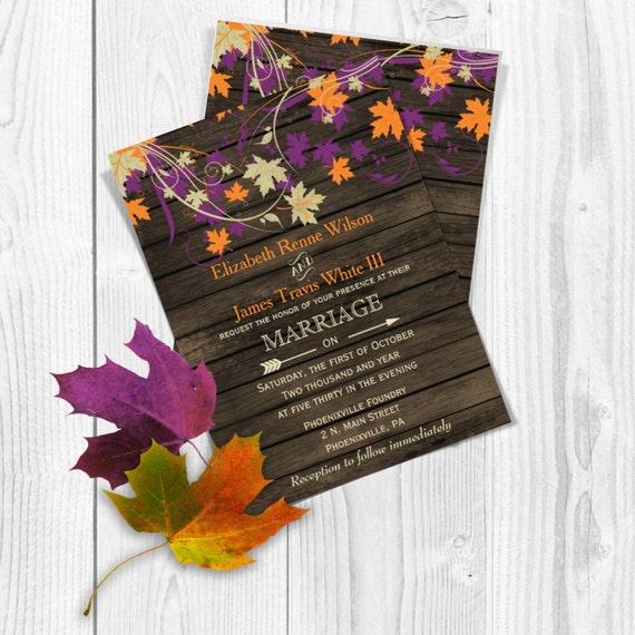 PRINTABLE Wedding Invitation Template Fall Wedding