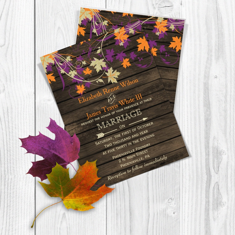 Fall Wedding Invitations: PRINTABLE Wedding Invitation Template Fall Wedding
