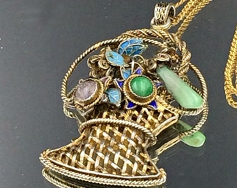 SALE Jade Amethyst Enamel Pendant on Gold Wash Silver and chain, Vintage Chinese, Basket Pendant, Gems NOW 135 WAS 150