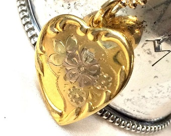 SALE Vintage Heart Locket, Gold Filled Ornate Heart Locket, Romantic Gift for Her,  NOW 89 WAS 98