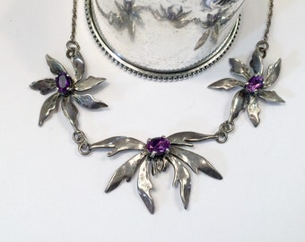 SALE  Amethyst Orchid Flower Sterling Silver Necklace,  Vintage Handmade Necklace Now 75.00 WAS 144