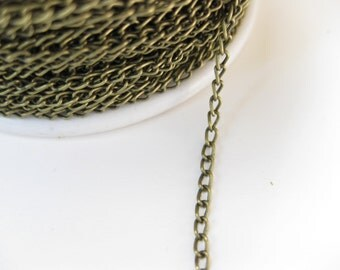 Antique Bronze Chain Curb Twist Chain 2.5x1.5mm 32ft DIY Jewelry Making Findings Supplies