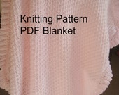 Baby Blanket Knitting  Pattern  PDF-Baby  Blanket Ruffled- Easy Knit Pattern  PDf - Online Knit  Pattern