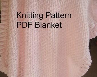 Baby Blanket Knitting  Pattern  PDF-Baby  Blanket Ruffled- Easy Knit Pattern  PDf - Online Knit  Pattern