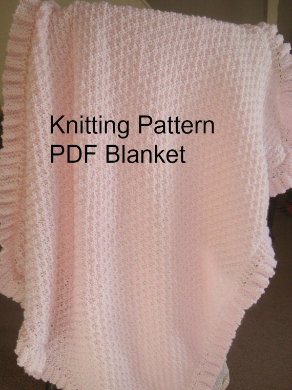 Knitting Pattern For Ruffle Baby Vest : Baby Blanket Knitting Pattern PDF-Baby Blanket Ruffled