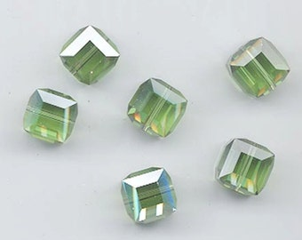 Eight non-standard Swarovski crystals - Art. 5601 - 10 mm - peridot satin B
