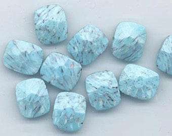 Fourteen beautiful and unusual vintage West German glass faceted rectangles - spattered robin's-egg  blue - 10 x 8 mm