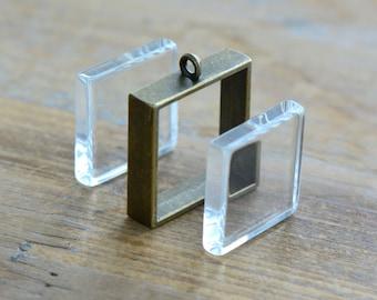 DIY Antique Bronze Glass Locket Pendant Square Shape Double Sided Glass Locket Picture Frame Charm Jewelry Pendant (DA210/DA211)