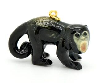1 - Porcelain Howler Monkey Pendant Hand Painted Glaze Ceramic Animal Small Ceramic Howler Monkey Bead Jewelry Supplies (CA219)