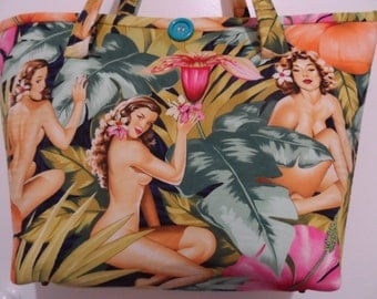 Tote Bag - Handmade Tote Bag - Alexander Henry Girls print Tote Bag - Tote Bag  - Jumbo Tote Bag - Market Tote Bag - Australian Made