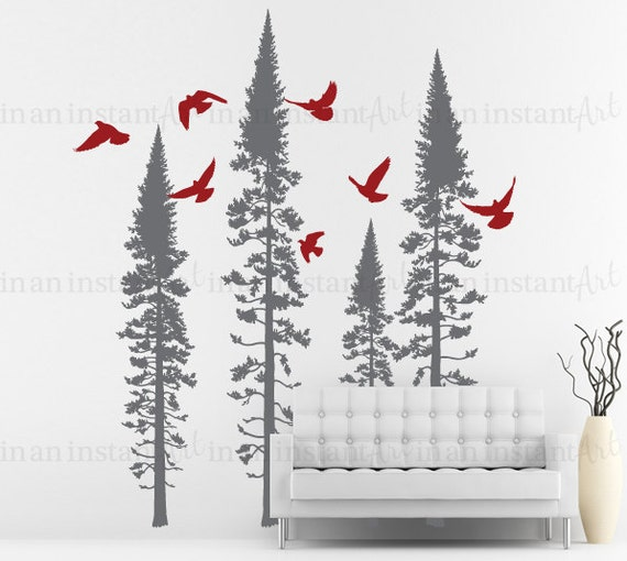 Tree Wall Decal Fir with Flying Birds Vinyl | Baby Nursery, Children's Room and Living Room Interior Designs | Easy Application 099