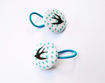 Swallow fabric covered button hair bobbles for ponytails or pigtails