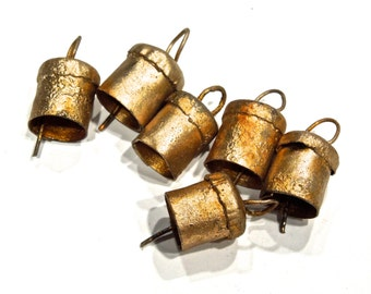 SUPPLY: 4 SMALL Hand Forged Iron Bells - No Clapper - Rustic Bells -  SKU 7-A6-00007822