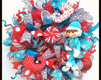 Candy Cane Elf Christmas Wreath with Red and Turquoise Deco Mesh and Ornaments - Elf Holiday Decor - Mesh Wreath