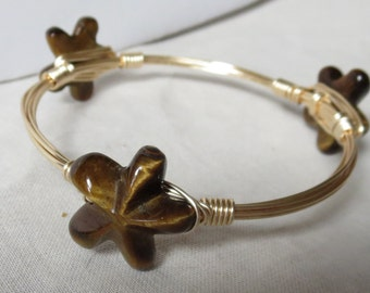 "Carved Tigers Eye Star Bangle Bracelet ""Bourbon and Bowties"" Inspired"