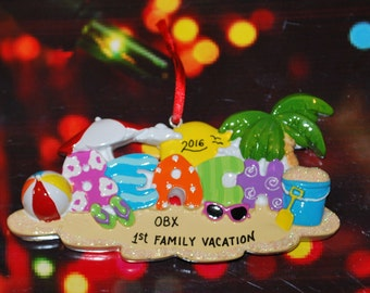 Personalized Beach Christmas Ornament