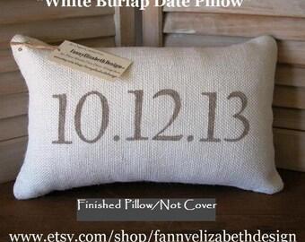 Date Pillow-Burlap Date Pillow-Engagement Gift-Burlap Pillows- Rustic Wedding- Wedding Gift- Anniversary Gift- Burlap Pillow- Wedding