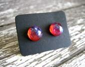 Fiery Opal Stud Earrings : Glass Mini Posts