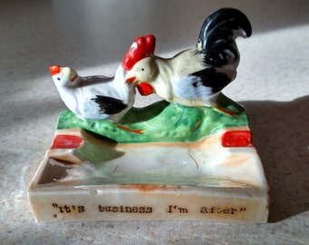 Vintage ceramic ash tray.  Occupied Japan.  Rooster, chicken.
