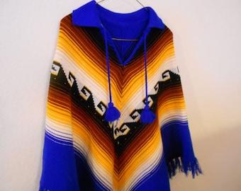 Vintage ladies knit poncho.  Southwestern.  Indian blanket.