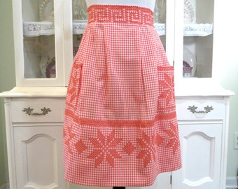 Vintage Handmade Apron, Womens Half Apron, Orange and White Checkered Print w Embroidery, Ladies Vintage Apparel by TheSweetBasilShoppe