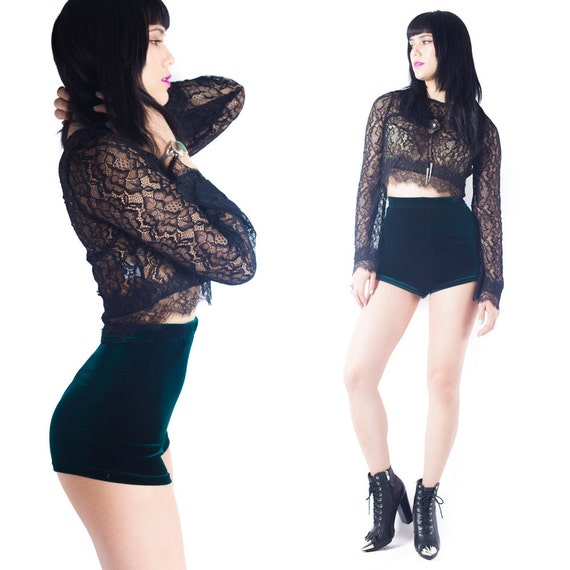 high Waisted shorts Velvet Booty Shorts Pin Up Cheeky shorts // XS S M L X XXL 3XL