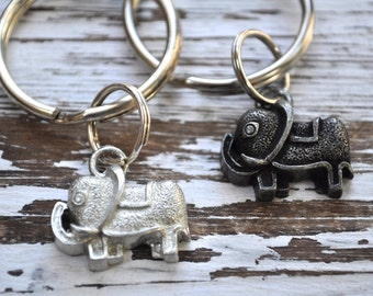 set of two lucky elephant keychains, lucky elephant keychain, talisman, Good Luck charm, Elephant Keychain, Elephant Key Ring