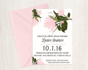 Floral Blush Shower Invite - Bridal Shower Invitation  - Hens Party - Party Supplies