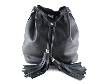 NEW! XL Leather Bucket Bag - Black | Drawstring Bag | Shoulder Bag | Crossbody | Cowhide Leather | Black Leather | Handmade