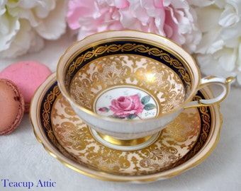 ON SALE Paragon Navy Blue And Gold Teacup and Saucer With Large Pink Rose, English Bone China Tea cup Set, Cabinet Teacup, ca. 1952-1960