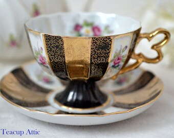 Shafford Black Lustre Ware Panel Teacup and Saucer Set, Replacement China, ca 1940-1970
