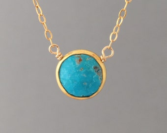 Turquoise Stone Disc Circle Gold Fill Necklace