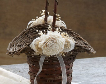 Rustic Flower Girl Basket Grapevine Princess Basket with Sola Flowers Burlap and Babys Breath Made to Order