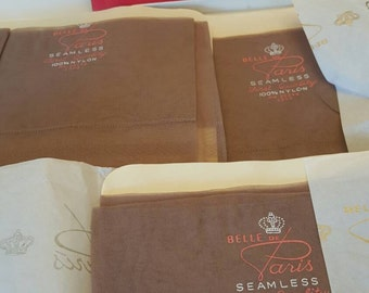 Vintage Thigh High Pantyhose Nylons Paris  French Hosiery Seamless 3 Pair Large Garter Stockings