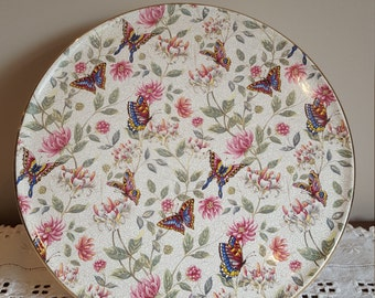 Vintage Cake Plate English Dessert Plate Royal Tudor Ware Barker Brothers Floral Butterfly Fancy Cake Plate Wedding Cake
