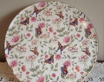 Vintage Cake Plate English Dessert Plate Royal Tudor Ware Barker Brothers Floral Butterfly Fancy Cake Plate Wedding Cake