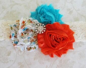 Baby Headband, Shabby Headband, Orange, Blue,Ivory Lace Headband, Girls Headband, Shabby Chic Headband, Infant Headband, Rhinestone Lace
