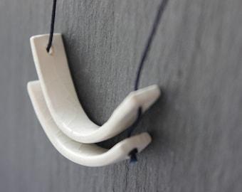 Handmade porcelain geometric circle necklace - white