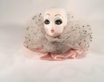 Vintage Harlequin Doll Head Porcelain Clown Face Head Only