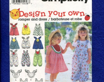 Simplicity 9008 Sun in the Fun Dresses and Rompers for Little Girls Size 6 months..1..2