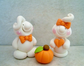 Ghostly Pair - Polymer Clay - Halloween Figurine