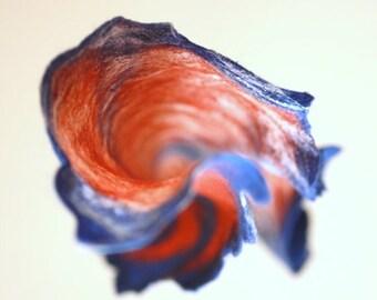 SALE Women felted scarf cobweb felt wool silk shawl - blue rust white - autumn fall winter scarf - made to order