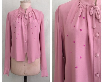 Rosie blouse // 1940s rayon blouse // 40s vintage embroidered shirt // m