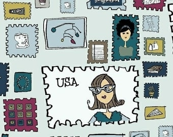 Paper Obsessed - Stamp Collection in AM Deliver - Heather Givans for Windham Fabrics - 41682-2 - 1/2 Yard