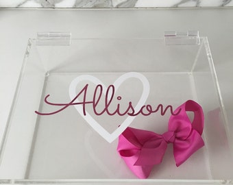 Personalized lucite acrylic diaper holder, bow holder or boys catchall