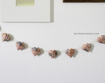 origami 3D heart garland | patriotic decor | military wedding decor ||| 4th of July garland || gift for unisex -old glory